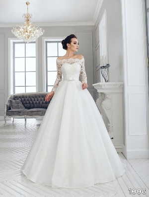 Sans Pareil Bridal Collection 2016: 1006 - Off-the-shoulder lace sleeved ball gown with waistband detail
