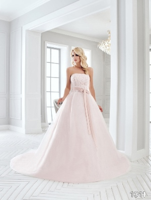 Sans Pareil Bridal Collection 2016: 1011 - Strapless pastel pink ball gown with embroidered bodice and bow sash