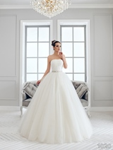 Bridal Dress: Sans Pareil Bridal Collection 2016: 1020 - Strapless shimmer tulle ballgown with floral waistband