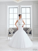 Bridal Dress: Sans Pareil Bridal Collection 2016: 1023 - Glamorous sleeveless trumpet-style wedding dress with shimmering mint green waistband