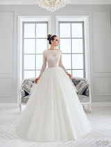 Bridal Dress: Sans Pareil Bridal Collection 2016: 1026 - Blush bold floral motif bodice meets gently gathered tiered ball gown skirt