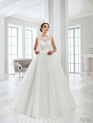 Sans Pareil Bridal Collection 2016: 1028 - Sleeveless embellished illusion dress with Crystal trim neckline and pleated ball gown skirt