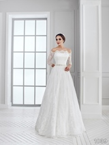 Bridal Dress: Sans Pareil Bridal Collection 2016: 1039 - All-over lace gown with illusion off-the-shoulder neckline and three-fourth sleeves