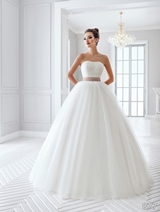 Bridal Dress: Sans Pareil Bridal Collection 2016: 877 - Strapless lace ball gown with colored ruffle waistband