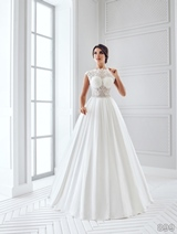Bridal Dress: Sans Pareil Bridal Collection 2016: 899 - Pleated satin A-line gown with lace embellished sheer bodice
