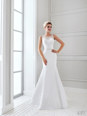 Sans Pareil Bridal Collection 2016: 967 - Sleeveless fit and flare gown with crystal trimmed neckline, bodice and embellished waistband