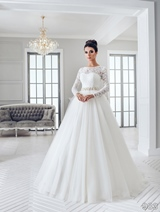 Bridal Dress: Sans Pareil Bridal Collection 2016: 983 - Full-length lace illusion sleeves over sweetheart bodice on gathered ball gown skirt