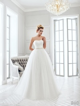 Bridal Dress: Sans Pareil Bridal Collection 2016: 988 - Two-in-one strapless gown with gathered tulle overlay skirt over fitted little white dress