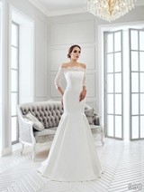 Bridal Dress: Sans Pareil Bridal Collection 2016: 990 - Off-the-shoulder illusion lace three-fourth sleeves over fit and flare satin gown