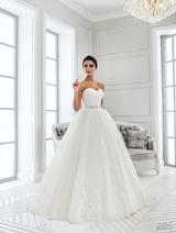 Bridal Dress: Sans Pareil Bridal Collection 2016: 991 - Asymmetrical ruched strapless bodice on ball gown with lace hemline
