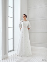 Bridal Dress: Sans Pareil Bridal Collection 2016: 994 - All-over thick Hardanger lace full-sleeves A-line wedding gown